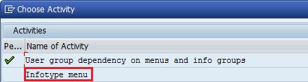 choose infotype menu