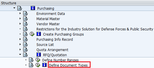 Define Purchasing Document Types (RFQ/Quotation) path