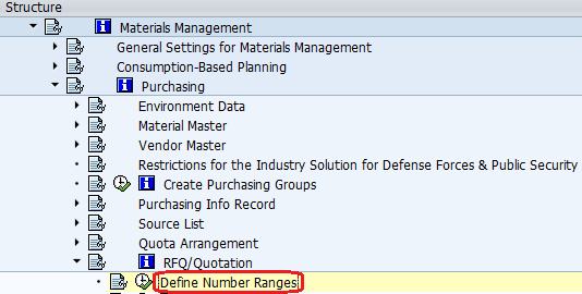 define number ranges for purchasing dcuments path
