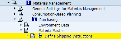 define shipping instructions path
