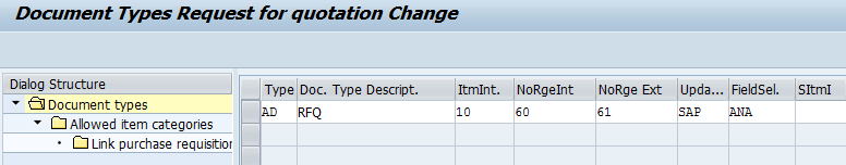 document types request for quotation change
