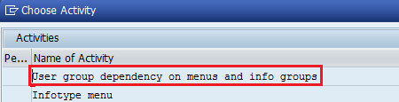 group dependency on menus and Infogroups