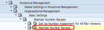 Maintain Number Ranges in Organizational Management Path