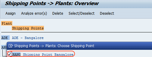 Assign shipping point to plant in sap
