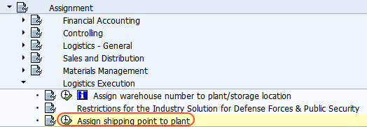 Assign shipping point to plant