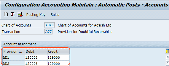 Configuration Accounting Maintain Automatic posts  accounts