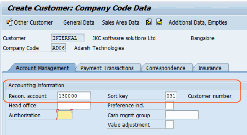 Create customer master data - company code dta