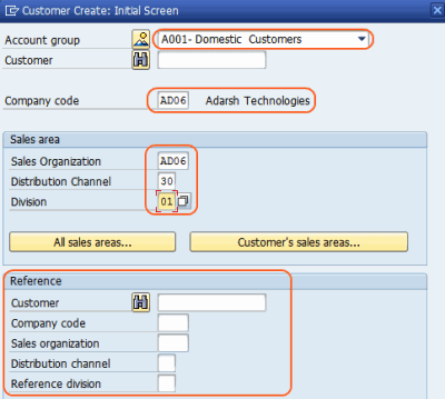 Create customer master data