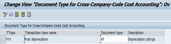 Document Type for Cross-Company Code Cost Accounting in External CoCode
