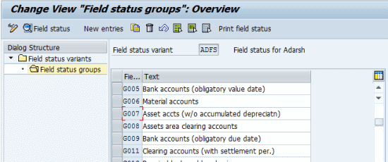 Field Status Variant of the Asset GL Accounts