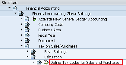 Path for Define tax codes for sales and purchases