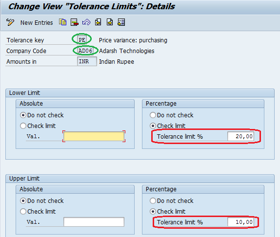 Set Tolerance Limits for Price Variance entries