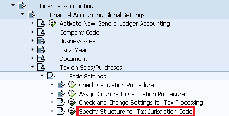 Specify structure for tax jurisdiction code Path