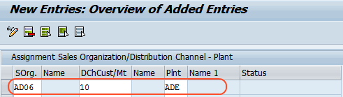 assign sales organization distribution channel to plant entries