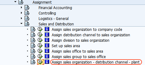 assign sales organization distribution channel to plant