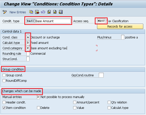 condition types for tax