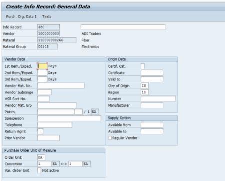 create info recods general data