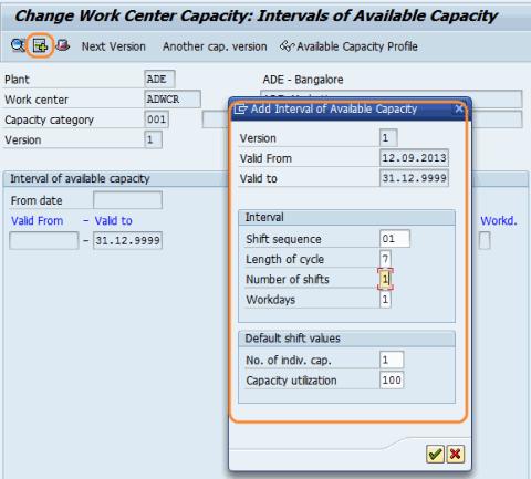 create work center capacities general