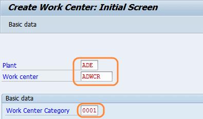 create work center initial screen
