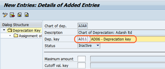 depreciation key entries
