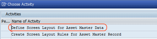 select Define Screen Layout for Asset Master Data