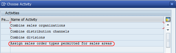 Assign sales order types permitted for sales area