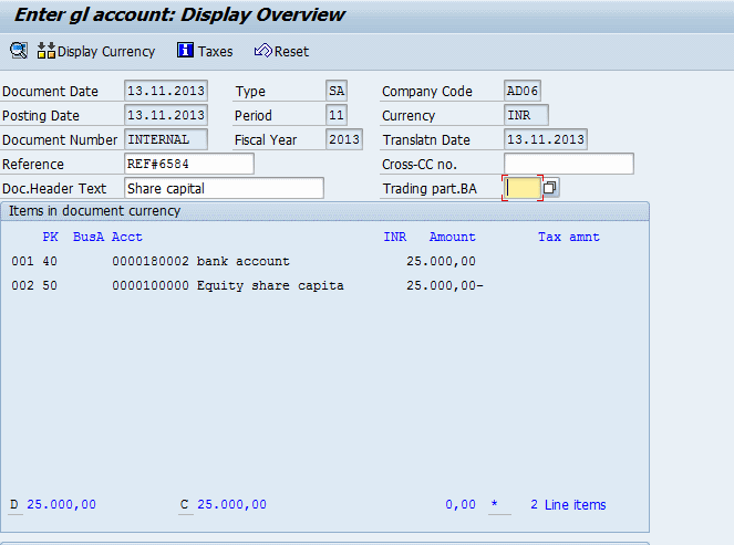 Enter GL Account posting document display