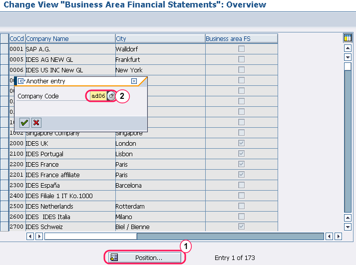 Change view Business area financial statements