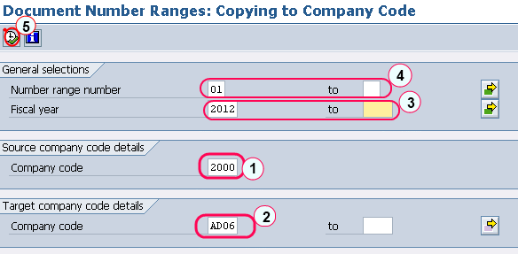 Document number ranges copy to company code