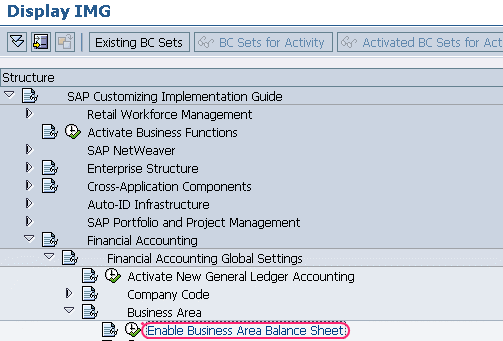 Enable business area balance sheet.