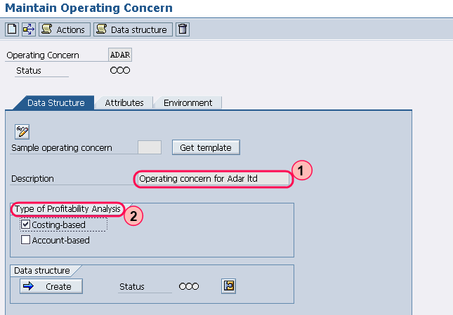 operating concern data structure