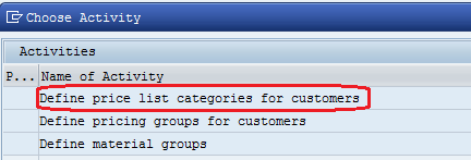 Define price list categories for customers- choose activity