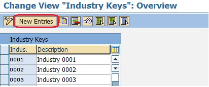 Industry sectors for customers new entries