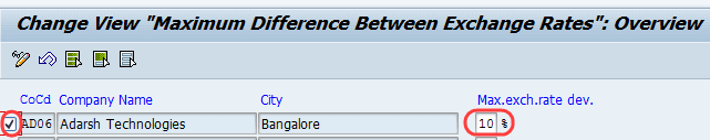 How to define maximum exchange rate difference per company code