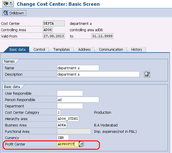 Assign Profit centers to cost centers in SAP