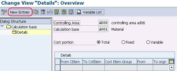 how to define calculation basis entries
