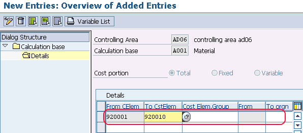 how to define calculation basis in sap