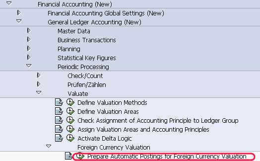 Prepare Automatic Postings for Foreign Currency Valuation path
