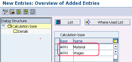 calculation base entries