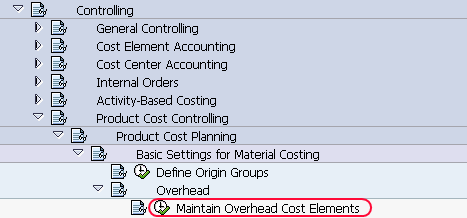 maintain overhead cost elements path