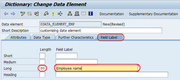 dictionary change data element field label