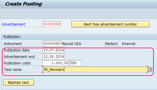 Create Advertisement in SAP