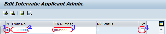 Create number ranges for applicant numbers sap