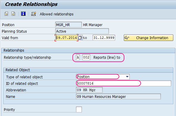 How to create new position using PQ13 in SAP