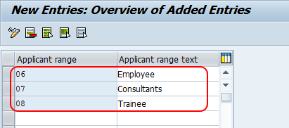 applicant range entries