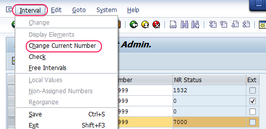 delete number ranges for applicant numbers sap