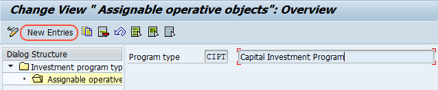 Assignable operative objectives new entries