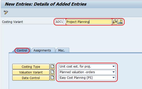 Create Costing Variant in SAP
