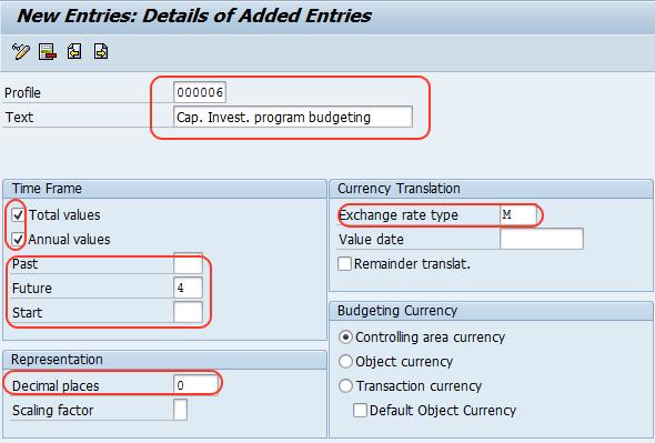 Define Investment budget profile in SAP