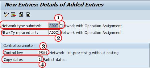 Define sub-network parameters IN sap
